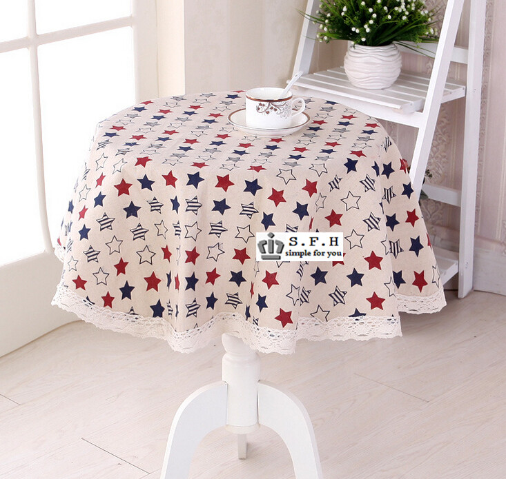 New <font><b>Bohemian</b></font> Vintage Five Star Print Tablecloth With Lace Edge Thicken Cotton Linen Rectange Table Cover For <font><b>Home</b></font> <font><b>Decoration</b></font>