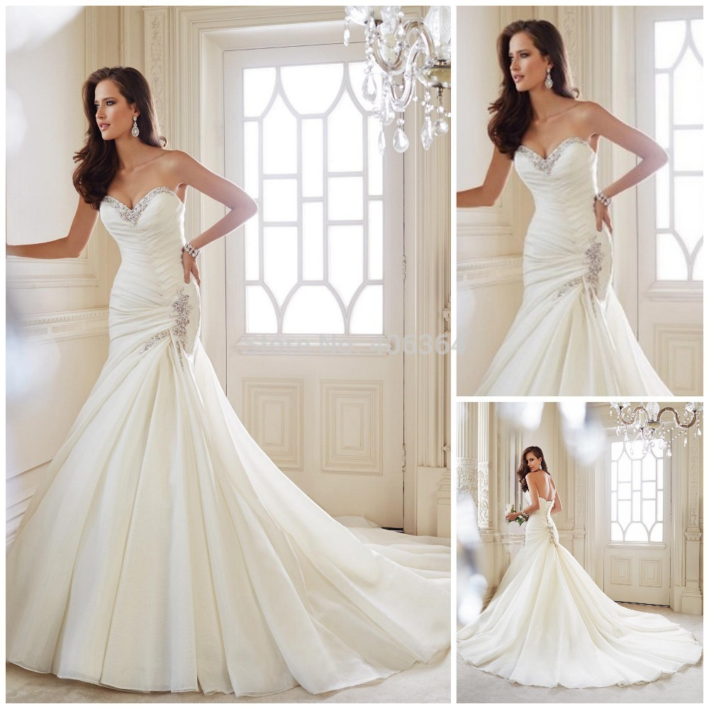 2014 new design sweetheart white wedding dress with beaded for Wedding dresses that are white