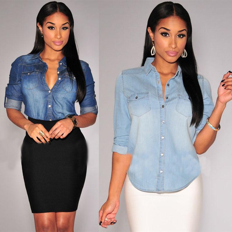 2015 summer style blusas fashion clothing sexy club denim blouses long sleeve women blouse shirt casual slim tops plus size(China (Mainland))