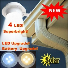 Solar Powered Fence Gutter 4 LED Light Outdoor Garden Yard Wall Pathway street light Lamp Free Shipping(China (Mainland))