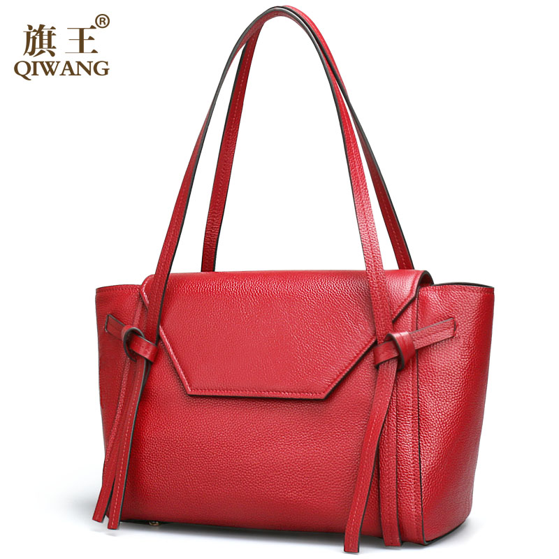 Qiwang Burgundy Bag Luxury Brand Designer Large Tote Shopping Bags for Work Women Real Leather Handbag France New Designer(China (Mainland))