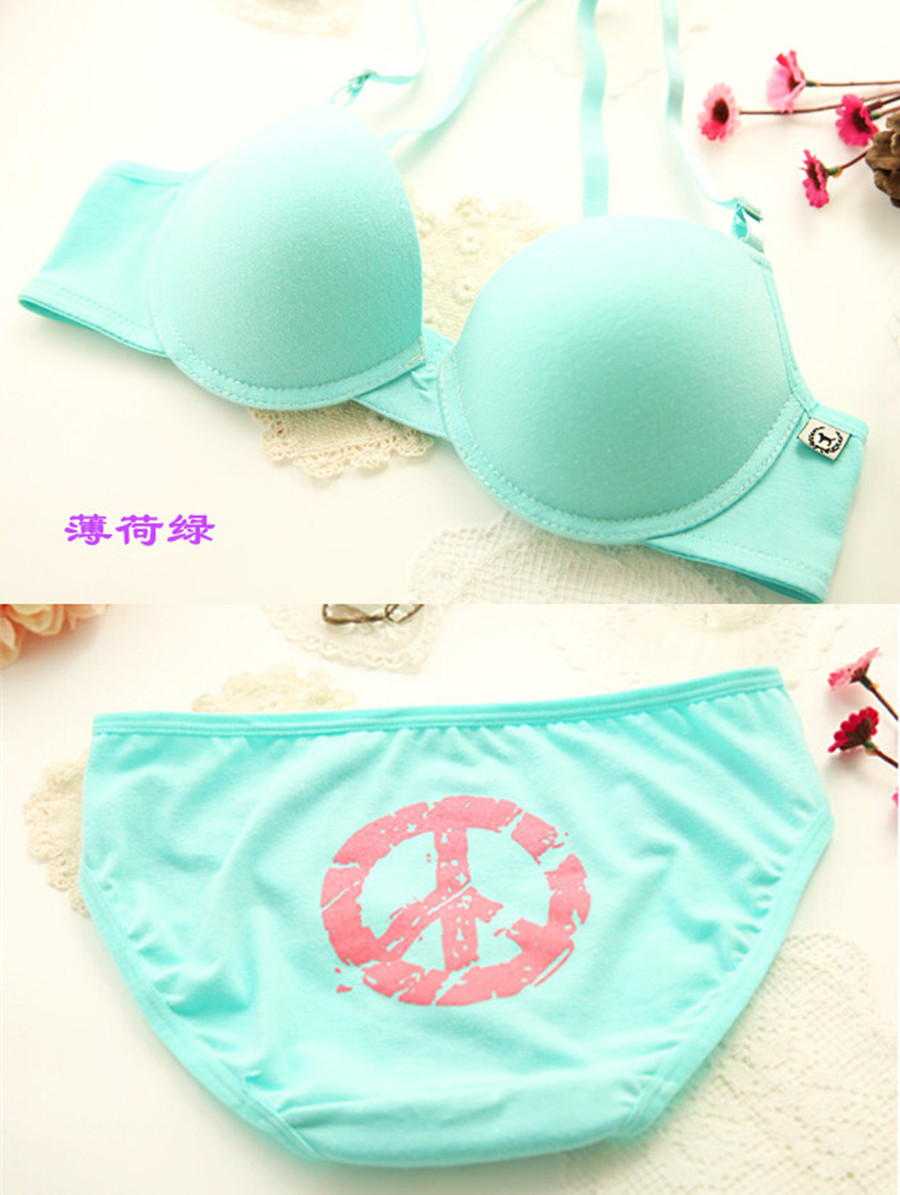 2015 fashion cotton sports 100% push pink series young girl comfortable bra set underwear - kui wang's store