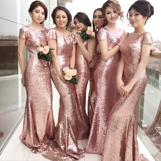 2016 backless sequined bridesmaid dresses short sleeve for Made of honor wedding dress