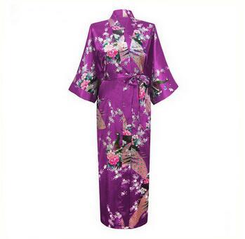 2015 Silk Bathrobe Women Satin Kimono Robes For Women Floral Robes Bridesmaids Long Kimono Robe Bride Silk Robe Dressing Gown(China (Mainland))
