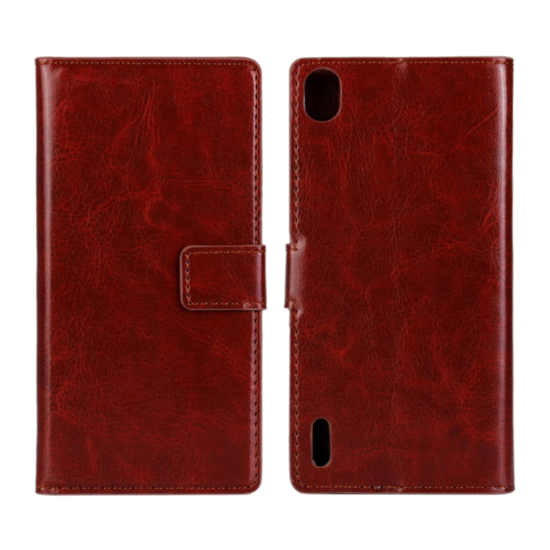 Luxury Genuine Crazy horse leather PU wallet Flip Cover For Huawei Ascend P7 Phone Protect Shell Retro Case Bag(China (Mainland))