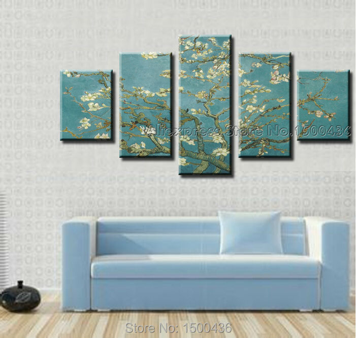 Handmade Famous Paintings Reproductions Vincent Van Gogh Almond Flower Wall Canvas Art 5pc Modern Abstract Home Decor Picture(China (Mainland))