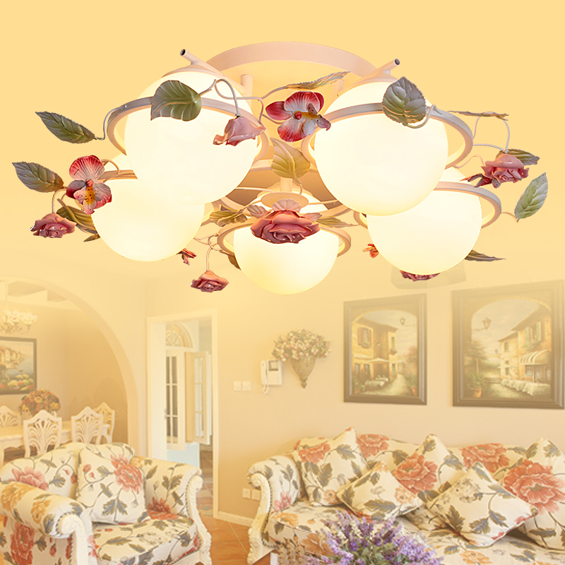 free shipping Semi-bedroom chandelier pastoral style living room ceiling lamp fixture e27 Korean romantic flowers, wrought iron<br><br>Aliexpress
