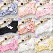 2016 New Women Briefs Lovely Dot Girls Female Underwear Sexy Thongs Lace Ruffles Women's Sheer Panties