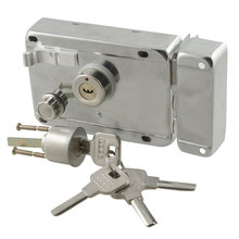 Office Home Silver Tone Left Hand Door Deadbolt Rim Lock w 5 Keys(China (Mainland))