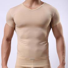 Summer 2016 Fashion Ice Silk Transparent Men Sexy Skinny Bodybuilding Undershirt/Gay Addicted Sheer T Shirts(China (Mainland))