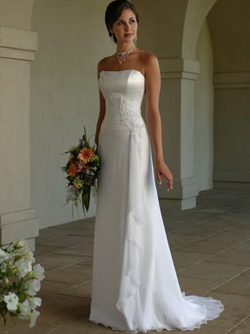 White simple cheap custom made strapless satin sheath for White wedding dress cheap