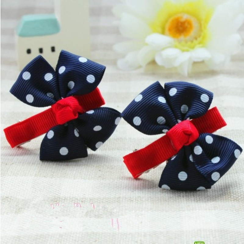 2 Pcs Big Bow Dot Children Kids Baby Girls Hair Clip Hairgrips Hairpins Barrettes Headwear Ornament Ornament Accessories(China (Mainland))
