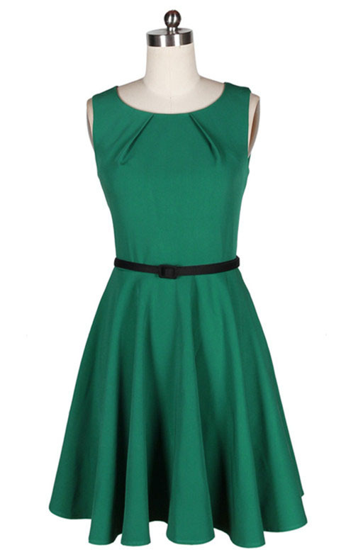50s 60s retro Audrey hepburn dress 1950's Vintage Green ...