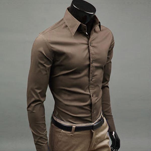 Luxury Men Slim Shirts Fit Dress Casual Long Sleeve Tee M-XXL - Sexy Life Need`s store