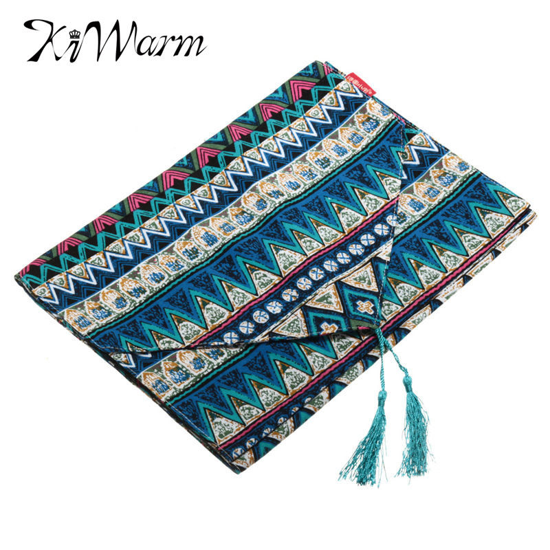 Fashion Reversible Bohemian national style Tassel Tablecloth Cotton Table Runner For Home Party Decor Fabric Craft 30 x 200cm