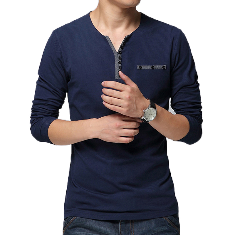 Hot sale 2016 new fashion brand v neck slim fit long for Mens long sleeve t shirts sale