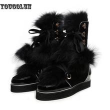 Mujer nubuck cuero Genuino Negro fashion sexy lace up boot zapato Mujeres mitad de la pantorrilla botas de nieve de las señoras 2015 de invierno zapatos planos pisos(China (Mainland))