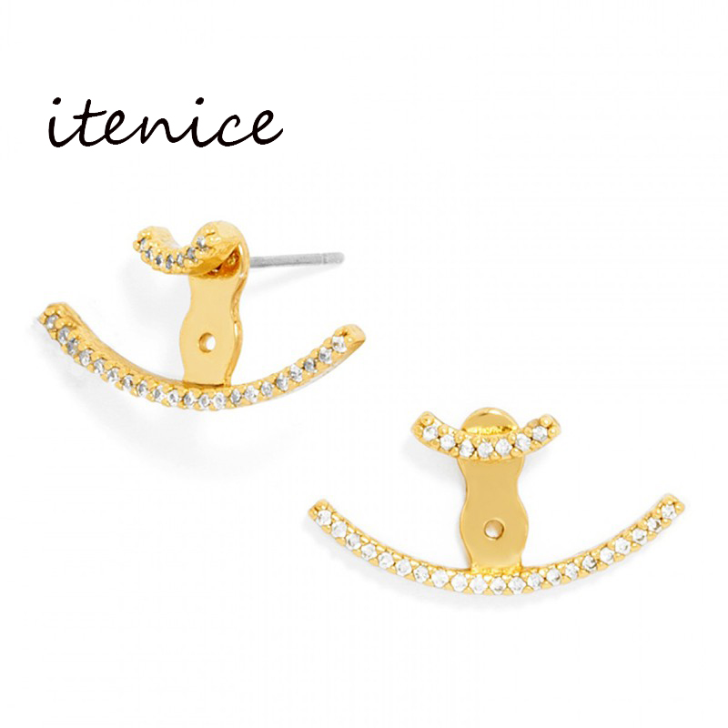 Famous Design Earrings for Women Korean Fashion Jewelry Anchor Gold Plated Stud Earring with Rhinestone Simple Metal Ear Jewelry(China (Mainland))