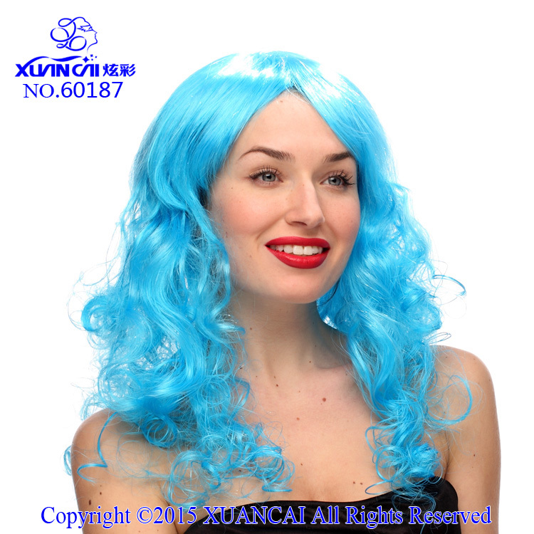 Free Shipping Promotion Cosplay Wigs 100% Polyester Hot Sale Cheap Sky blue Curly Long Wig(China (Mainland))