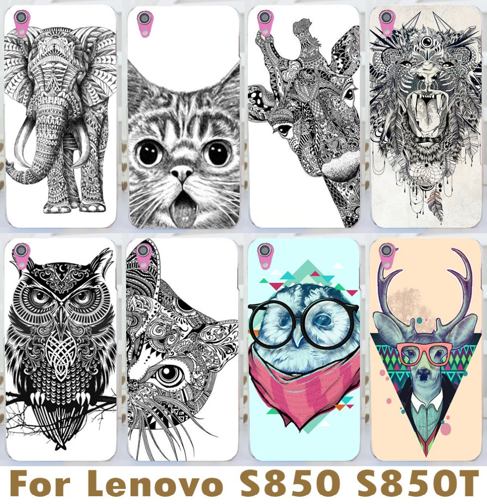 2015 new cartoon animal case For Lenovo s850 s850t black white case cool cat deer bird phone case color case wholesale(China (Mainland))