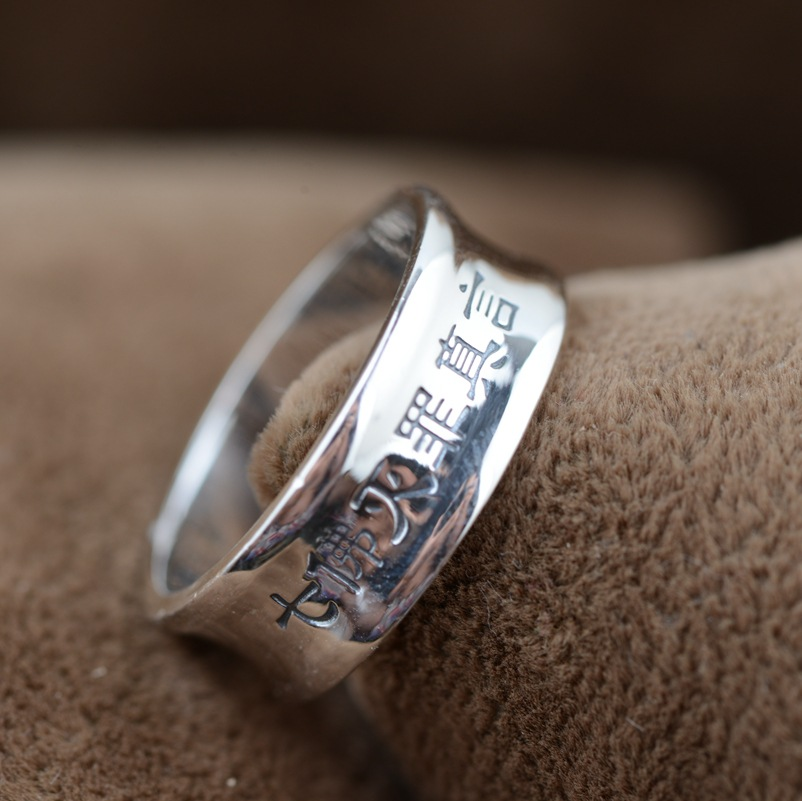Sterling Silver Ring wholesale S925 Silver Antique Style seven Buddha Buddhist mantra jewelry lovers of crime(China (Mainland))