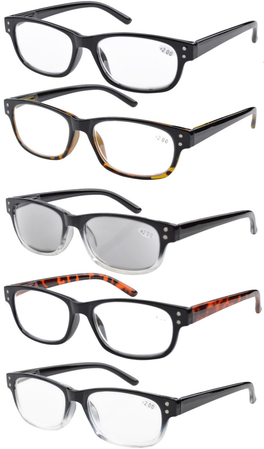 Ship from USA 5-pack Spring Hinges Reading Glasses Sun Readers R019-Mix-USAFBA +1.0/1.25/1.5/1.75/2/2.25/2.5/2.75/3/3.5/4(China (Mainland))