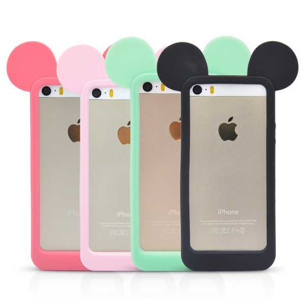 Fashion 3D Mickey Mouse Ears Silicon Frame Bumper for iPhone 5G 5 5S Soft Rubber Lovely Cartoon Phone Cases Cover(China (Mainland))