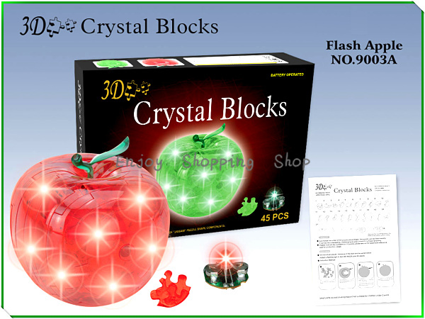 DIY 3d Crystal puzzle apple with light jigsaw model building learning&education kids toys for children brinquedos educativos(China (Mainland))