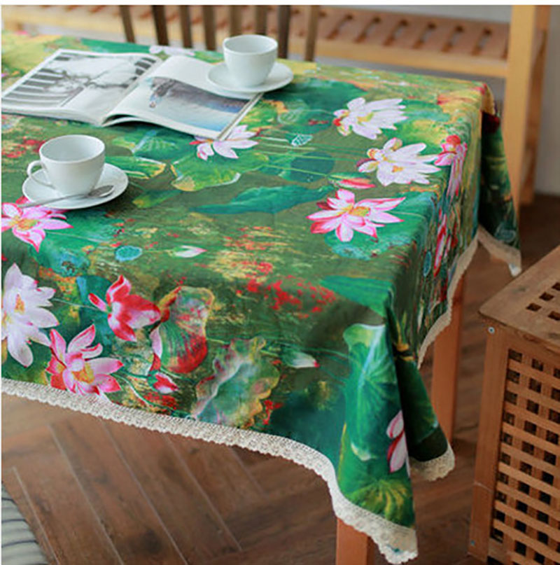 Linen Table Cloth Woven Printed Traditional Chineses Lotus Home/Outdoor/Party Size:60*60-140*250 Christmas Manteles Para Mesa(China (Mainland))