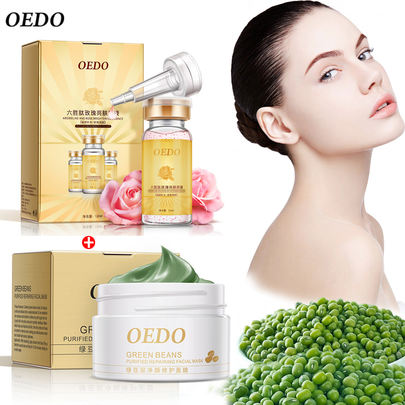 OEDO Argireline and Rose Essence Face Cream+Green Beans Purified Repairing Face Mask Skin Care Moisturizing Whitening Anti Aging(China (Mainland))