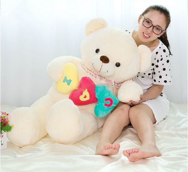 2016 100cm Jumbo Plush Soft Lovely Giant Stuffed Heart Teddy Bear Toy, Great Gift for Kids, Free Shipping(China (Mainland))