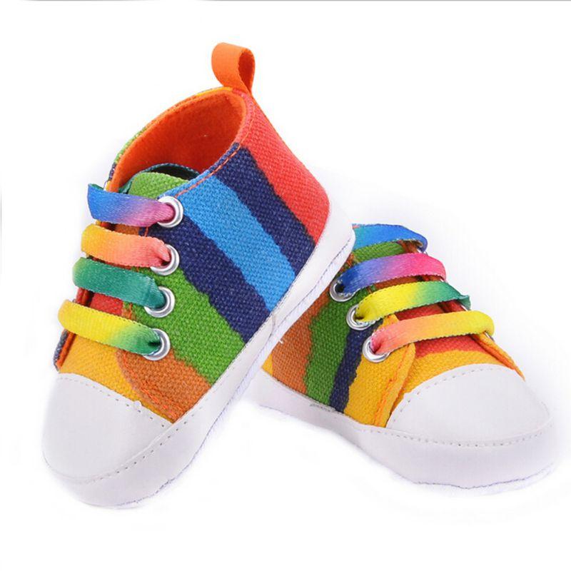 Casual Baby Rainbow font b Plaid b font Star Cotton Crib Shoes Soft Sole Prewalker Anti