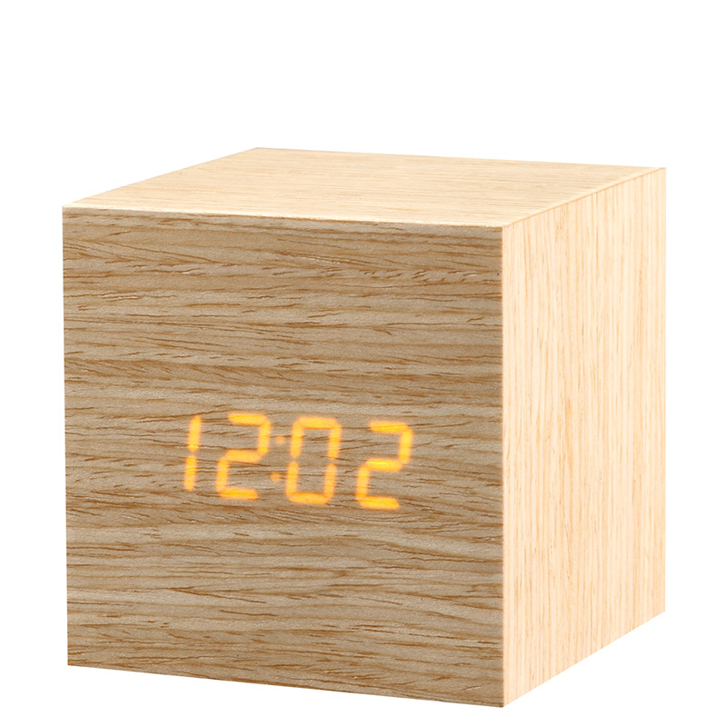 Quality Digital LED Alarm Clock Sound Control Wooden Despertador Desktop Clock Temperature Display Table Clock Wekker KSW110(China (Mainland))