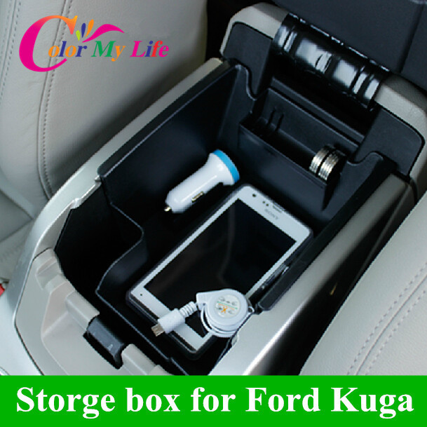 2015 Time-limited Freeshipping Black car Armrest Storage Box Separating Layer Case for Ford Kuga Escape 2013 2014 Accessories(China (Mainland))
