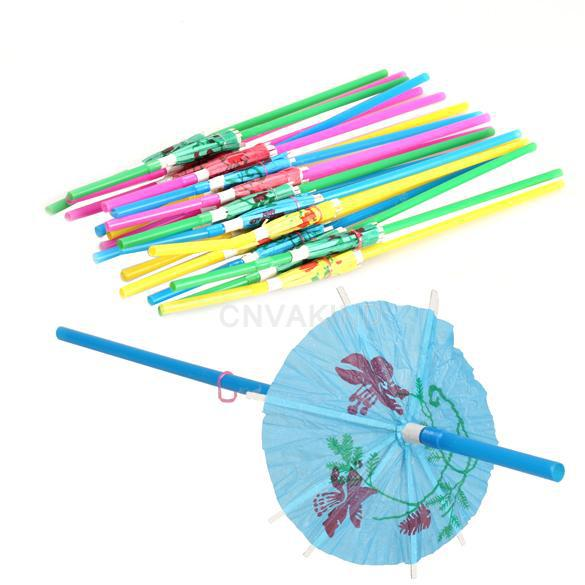 Free Shipping 20pcs/lot Small umbrella Drinking Straws for Wedding Birthday Party Biodegradable(China (Mainland))