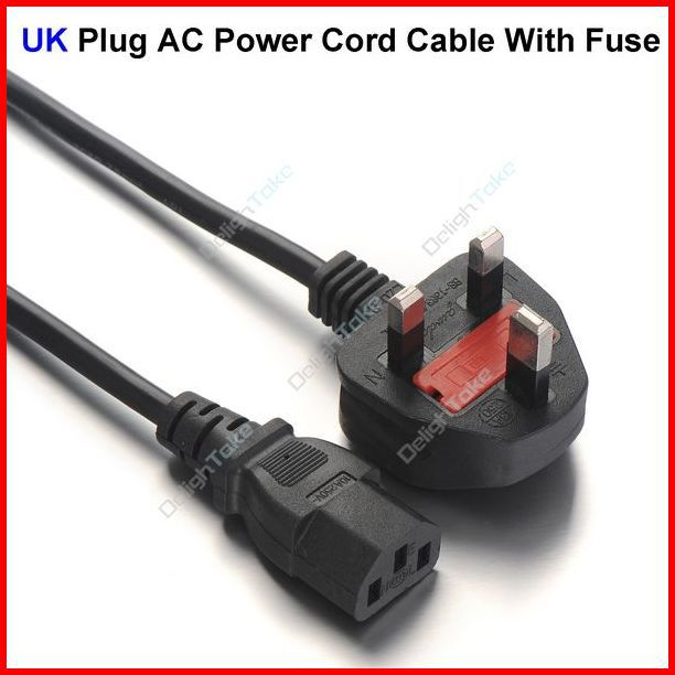( 50 pcs/lot ) 3 Prong UK Plug AC Power Cord Cable 1.8m 6FT With Fuse For PC Desktop Monitor Computer Wholesale(China (Mainland))