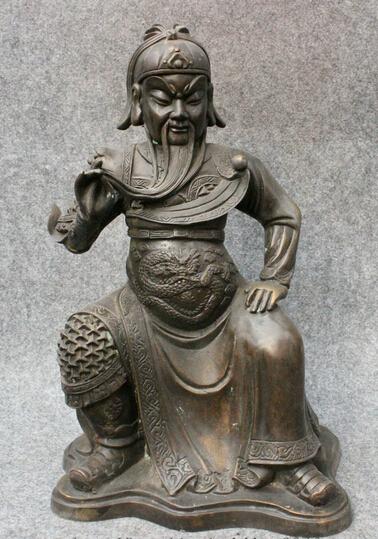 "wholesale factory 13"" Marked Chinese Purple Bronze Dynasty Warrior GuanGong GuanYu God Statue(China (Mainland))"