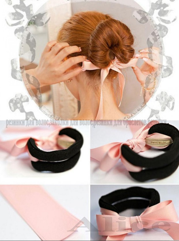 2015 Women Soft Hairband Sponge Bud Ball with Bowknot Hair Accessories Twist Hair Stick Bun Jewelry Head Plate Band Headdress(China (Mainland))