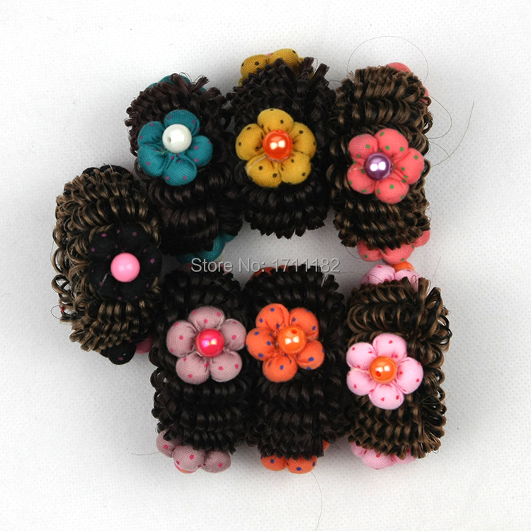 Cute Flower synthetic wigs hair bun;2015 Newest beautiful perucas doughnut pelucas hair pieces for girls children(China (Mainland))