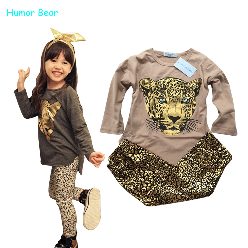Humor Bear NEW Leopard Kids autumn fashion clothes girls Cartoon long-sleeved + pants suit grils student - official store