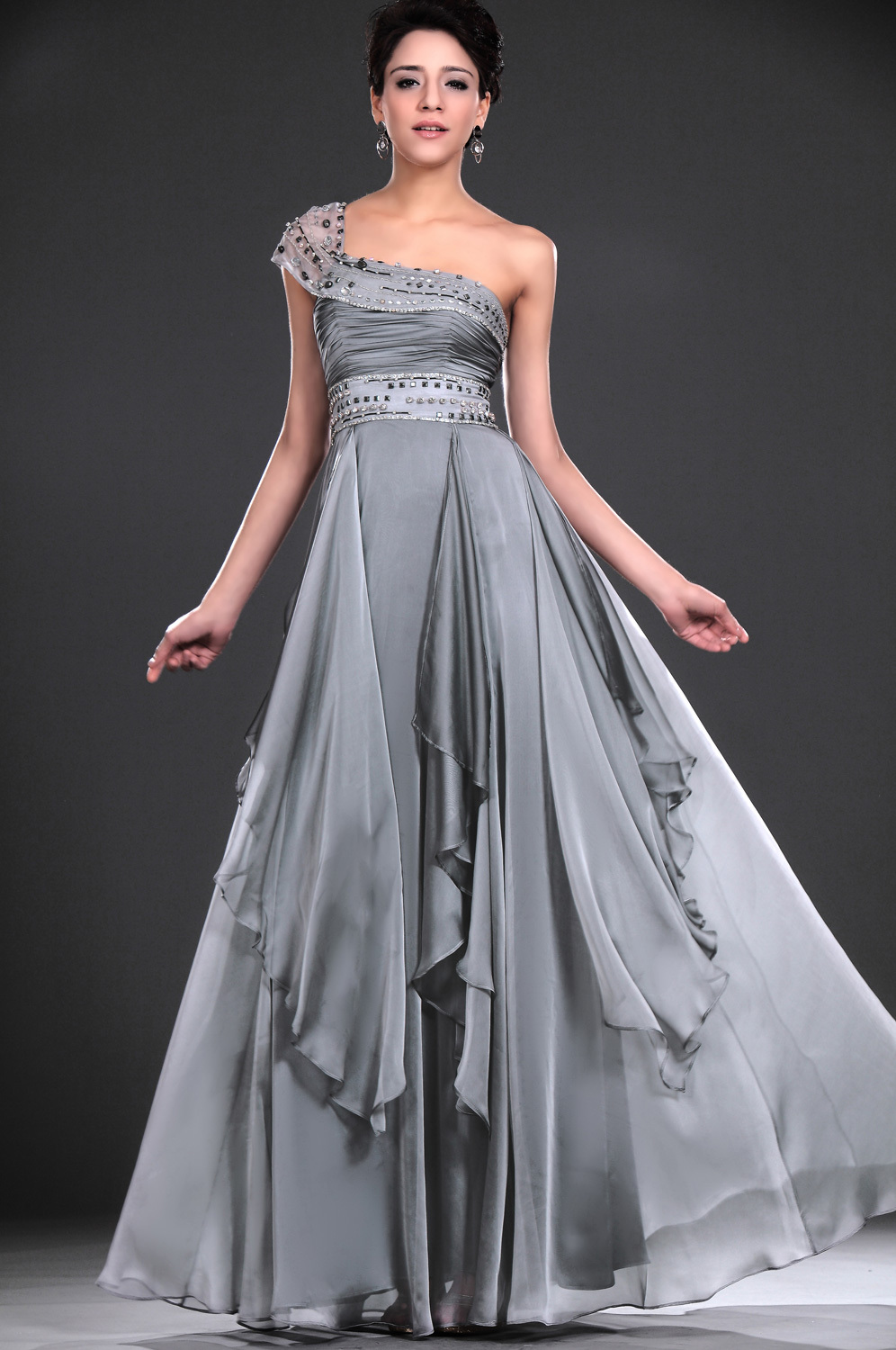 Floor length sleeveless a line one shoulder natural none for Charcoal dresses for weddings