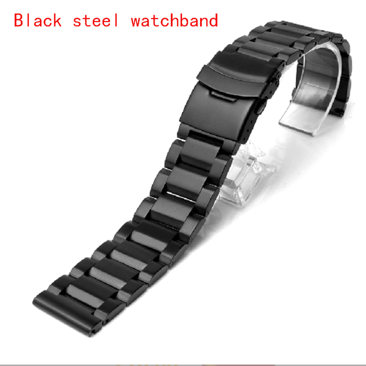 Watch band 20mm 22mm 24mm New Men Heavy Silver Black Brushed Stainless Steel Watch Band Watch Straps Bracelets Double Lock Clasp<br><br>Aliexpress