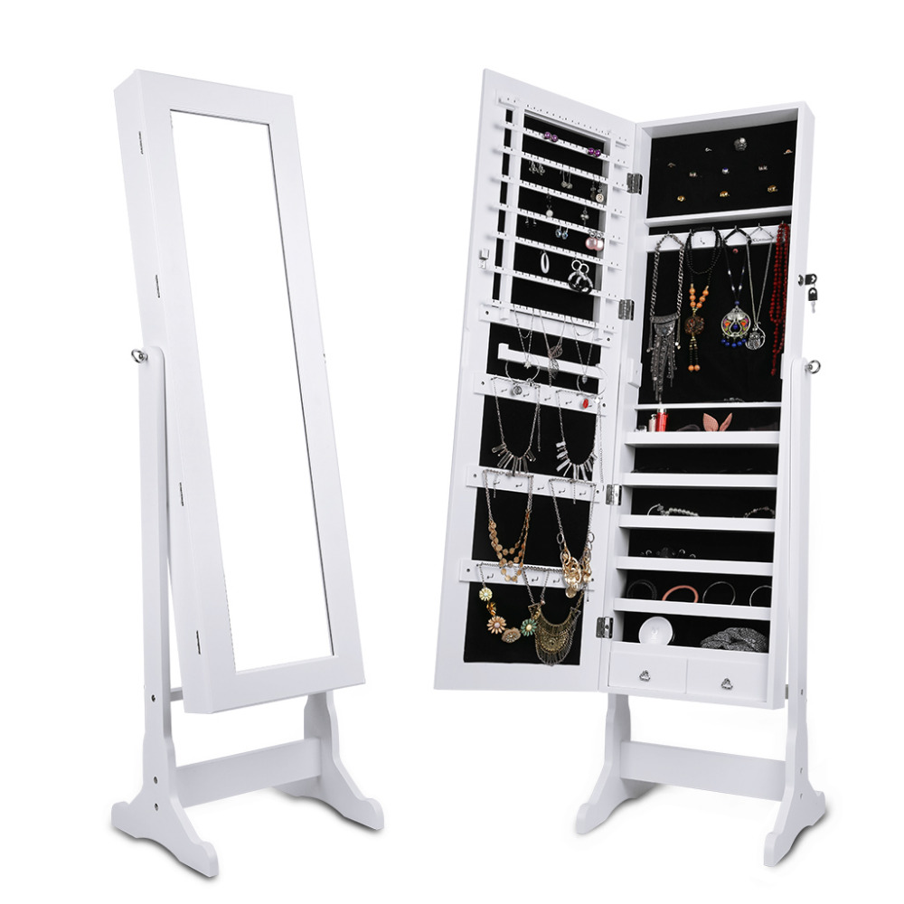 LANGRIA Free Standing Lockable Mirrored Jewelry Armoire for Rings Earrings Bracelets with Adjustable Cabinet Storage Organizer(China (Mainland))