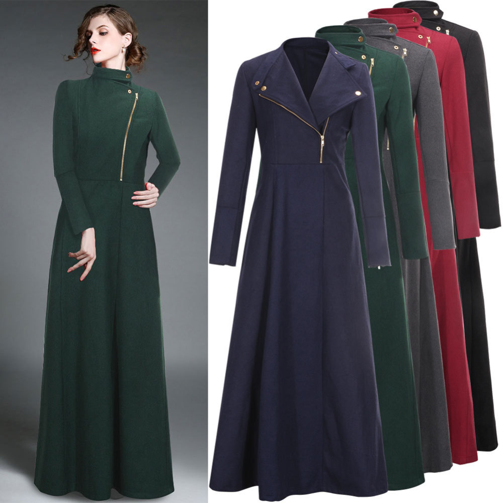 2015 winter woolen extra long trench coat for women zipper floor length wool trench coat in. Black Bedroom Furniture Sets. Home Design Ideas