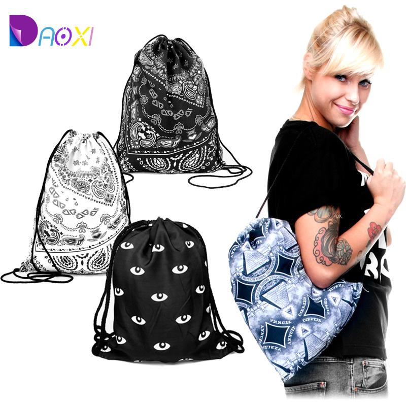 Top Quality 2015 women beach backpack printing bag for picnic mochila feminina harajuku drawstring bag mens