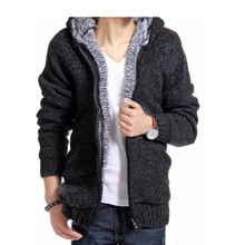 2016 New Arrival Men's Fashion Solid Thick Warm Sweater Male Casual Hooded Winter Wear Fur Lining Sweater MZM179(China (Mainland))