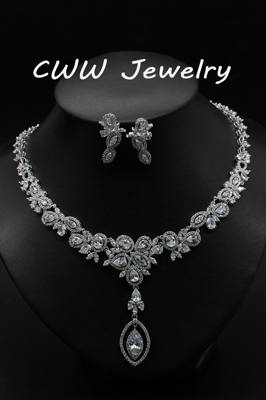 Wholesale Luxury CZ Diamond Necklace And Earrings Wedding