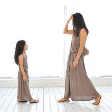 2016 Family Look Mother and Daughter Dresses Long Loose Summer Maxi Dress Family Matching Outfits Sleeveles Girls Cotton Dress
