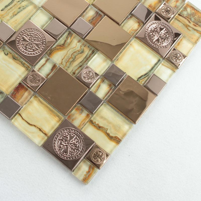 TST beige nature stone pattern glass tile gold stainless steel backsplash porcelain base bathroom fireplace tiles 11 PCS/ lot<br><br>Aliexpress