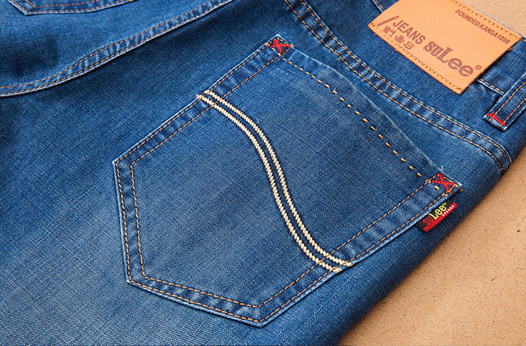 Spring Autumn Ultra Thin Jeans Men Cotton Straight Pants Denim Fitness Trousers Mens Jeans Solid Jeans For Women And Men